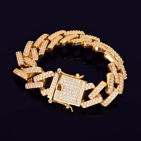 Iced Out CZ Big Square Miami Cuban Link Bracelet (18mm)