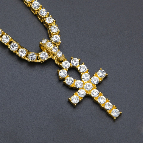 Image of Key Cross Pendant Necklace