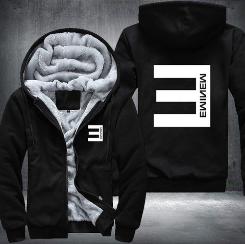 streetwear USA Plus EU American Size  hip hop Eminem Men's Women's Pattern Thicken Fleece Zipper Hoodies Sweatshirts Coat Jacket