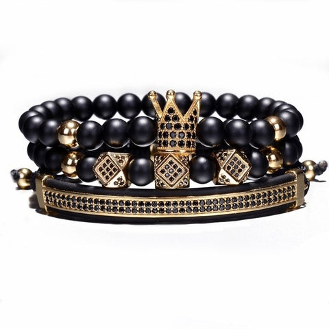 3pcs/Set Crown Hip Hop Bracelet