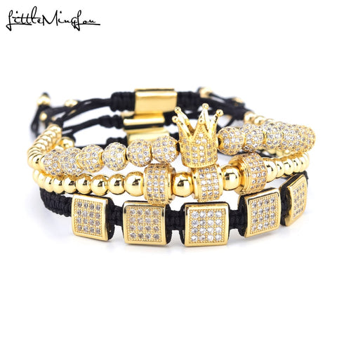 3pcs/Set CZ Square Ball Charm Bracelet