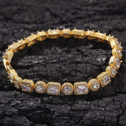 Mix Round & Square CZ Tennis Bracelet (8mm)