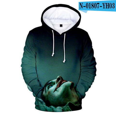 Image of HAHA Joker Funny 3D Hoodie Halloween Crazy Smile Pullover Hoodie Sweatshirt Fashion Streetwear Jacket Coat Cool Unisex Sportwear