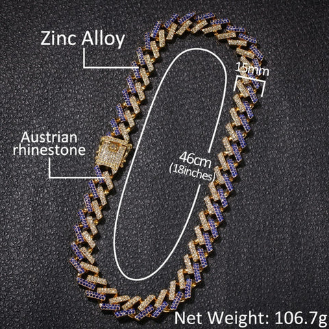 Mixed Color Prong Cuban Link Chain Necklace (15mm)