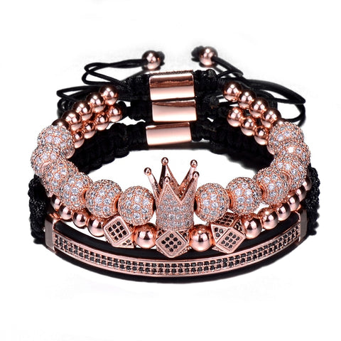 3pcs/Set Braiding Hip Hop Crown Bracelet