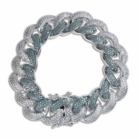 Mint Blue CZ Miami Cuban Link Bracelet (18mm)