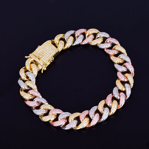 Mixed Color Cuban Chain Bracelet (12mm)