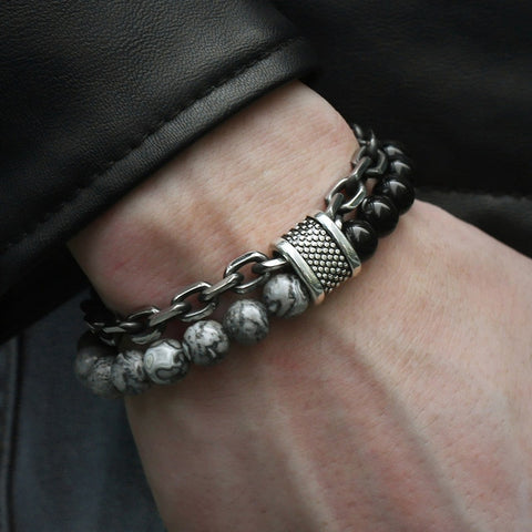 Stone Beaded & Stainless Steel Bracelet