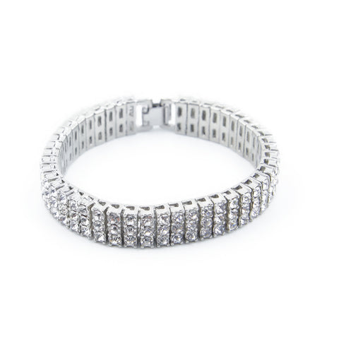 Three Rows Tennis Bracelet (15 mm)