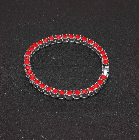 Colorful Rhinestones Single Row Tennis Bracelet (5mm)