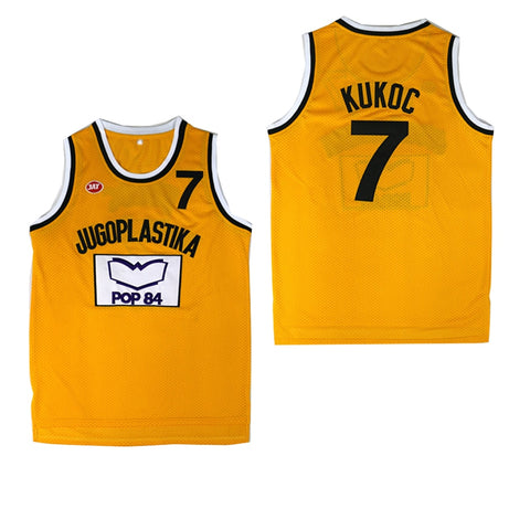 Image of BG basketball jerseys JUGOPLASTIKA 7 KUKOC Embroidery sewing outdoor sport wear relaxation movie jersey yellow 2020