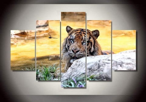 Image of Modular HD posters printed Canvas Wall Art Decorative Photo Frame Tree 5 units Seascape