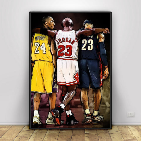 Kobe Bryant Michael LeBron James Poster Basketball Stars Wall Art Canvas Wall Pictures for Living Room Home Decor Boys Room