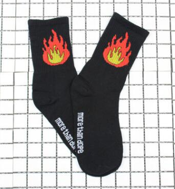 70% Cotton Patterned Design Flame Bomb Baseball Harajuku Cool Fashion Socks Hip Hop Socks for Men Women Unisex 36-44