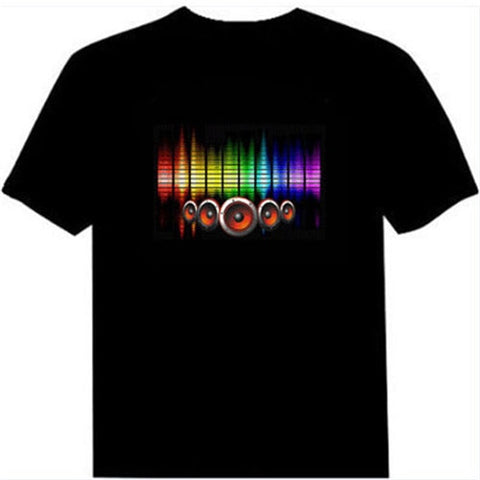 Image of Hot Sale Sound Activated Led Cotton T Shirt Light Up and Down Flashing Equalizer EL T-Shirt Men for Rock Disco Party DJ Top Tee
