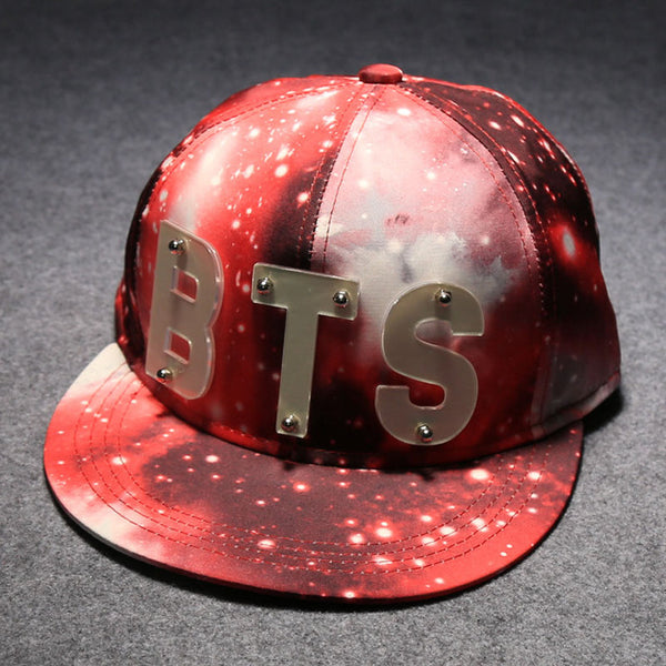 Exclusive Luminous BTS Acrylic Letter Hiphop Baseball Cap Star Sky Blue Colorful Active Casequette Youth Rapper Character Hats