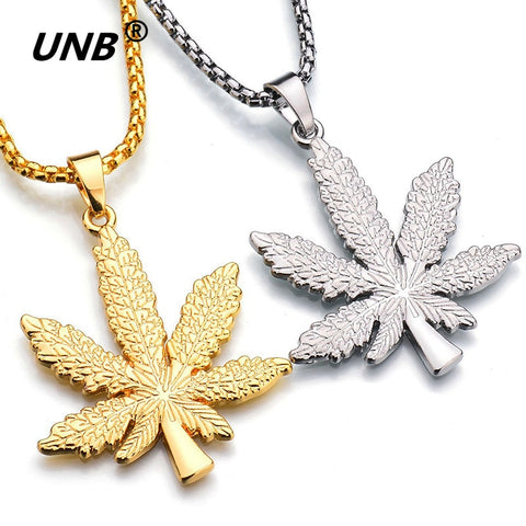 UNB 2017 New Gold Silver Plated Cannabiss Small Weed Herb Charm Necklace Maple Leaf Pendant Necklace Hip Hop Jewelry Wholesale