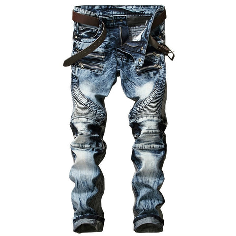 New Fashion Men's Biker Jeans Pants Slim Fit Pleated Motocycle Denim Trousers Brand Designer Multi Zippers Straight Moto Pants