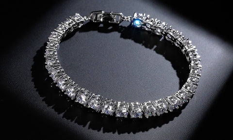 Image of SILVER GOLD ROUND CUT TENNIS BRACELET