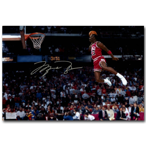 NICOLESHENTING Michael Jordan Dunks Basketball Art Silk Fabric Poster Print Sports Picture for Room Wall Decoration 059