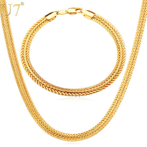 U7 Men Chain Necklace Set Wholesale Trendy Rose Gold shipping 4-7 days