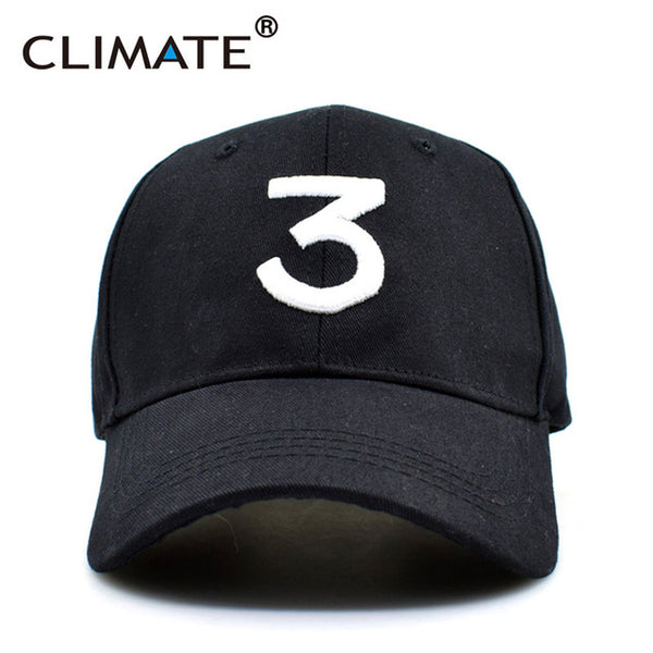 CLIMATE New Popular Chance The Rapper 3 Hat Cap Black 3D Embroidery Baseball Cap Hip Hop Streetwear Strapback Snapback Sun Hat