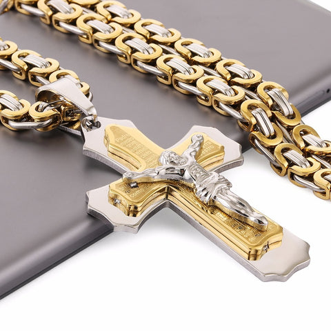 "Multilayer Cross Christ Jesus Pendant Necklace Stainless Steel Link Byzantine Chain Heavy Men Jewelry Gift 21.65"" 6mm MN78"