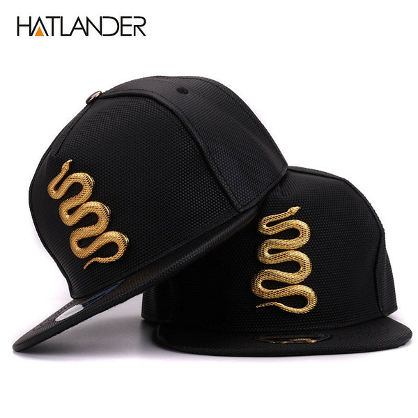 Hatlander Women Leather Baseball Caps Daft Rapper Rock Snapback Cap Flat Hats Jazz Golden Snake Punk Black Hip Hop Caps For Men
