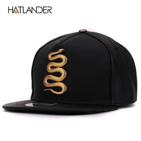 Image of Hatlander Women Leather Baseball Caps Daft Rapper Rock Snapback Cap Flat Hats Jazz Golden Snake Punk Black Hip Hop Caps For Men