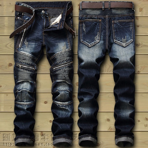 Dropshipping  Biker Jeans Men's Distressed Stretch Ripped Biker Jeans Men Hip Hop Slim Fit Holes Punk Denim Jeans Cotton Pants