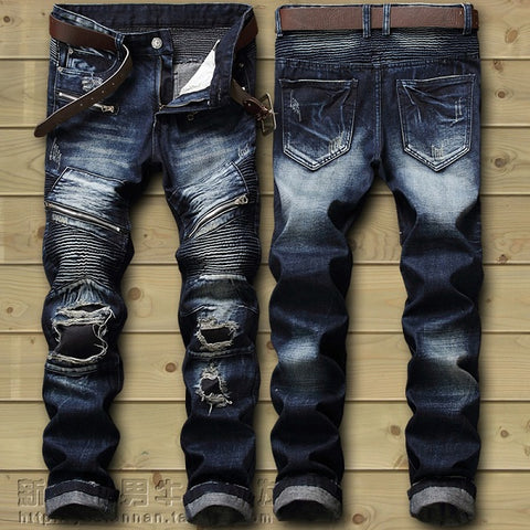 Image of Dropshipping  Biker Jeans Men's Distressed Stretch Ripped Biker Jeans Men Hip Hop Slim Fit Holes Punk Denim Jeans Cotton Pants