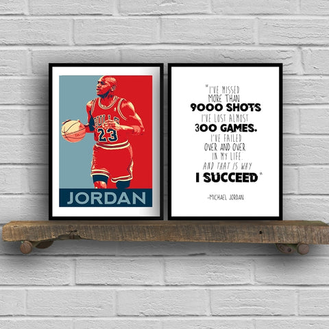 Michael Jordan Canvas Art Print and Poster , Michael Jordan Quote Canvas Painting Wall Picture Home Basketball Art Decor