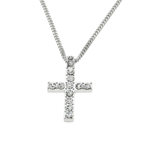 Image of Hip Hop Alloy Cross Pendant Necklace Iced Out Rhinestone Gold Silver Tone Crucifix Charm Jewelry