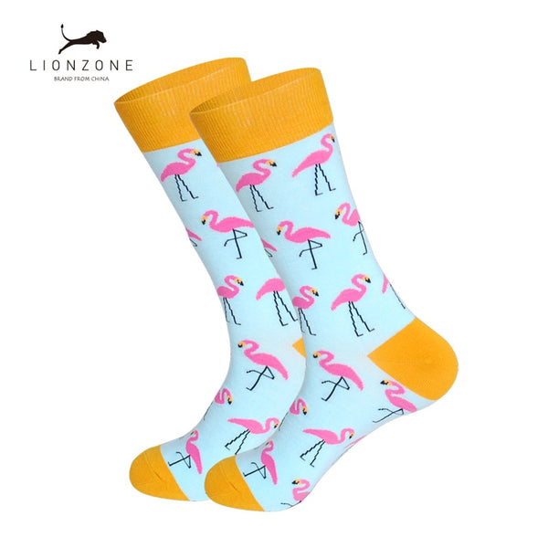 Mens Happy Socks Art Painting Flamingo Zebra Combed Cotton Hip-hop Funny Long Socks Chaussettes Homme Fantaisie