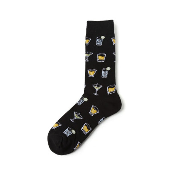 High Quality Diamond Hip Hop Men Socks Basket Drinking Beer Happy Funny Socks ARGYLE Dress Socks Calcetines Harajuku Designer