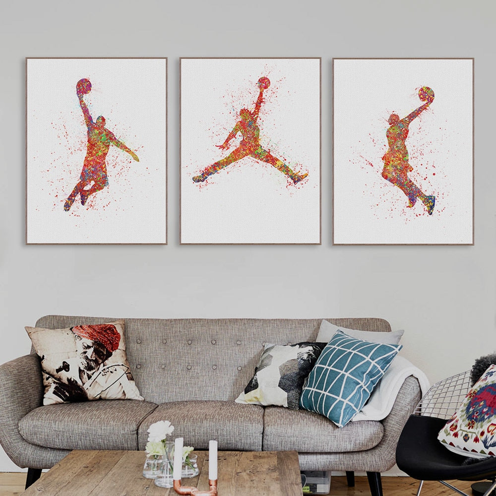 Michael Jordan Watercolor Basketball Painting Poster Abstract Sport Man  Wall Picture Canvas Paintings Living Room Home