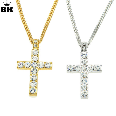 Hip Hop Alloy Cross Pendant Necklace Iced Out Rhinestone Gold Silver Tone Crucifix Charm Jewelry