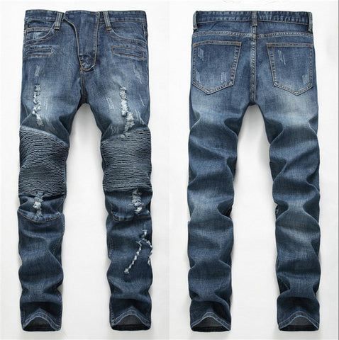Image of 2018 Fashion Hip Hop Patch Men Retro Jeans Knee Rap Hole Zipped Biker Jeans Men Loose Slim Destroyed Torn Ripped Denim Man Jeans