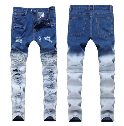 2018 Fashion Hip Hop Patch Men Retro Jeans Knee Rap Hole Zipped Biker Jeans Men Loose Slim Destroyed Torn Ripped Denim Man Jeans