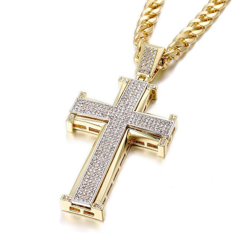 Image of Hip Hop Cross Pendant Necklace