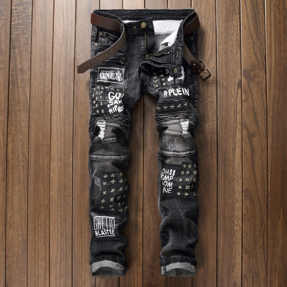 742f36e6 Patch Jeans Men Skinny Casual Cotton Classic Ripped Denim For Men Straight  Slim Fit Plus Size