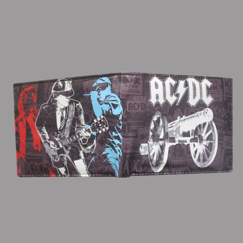 AC/DCrock punk wallet men short brand purses pu leather card holder hip hop top quality acdc wallets man drop shipping