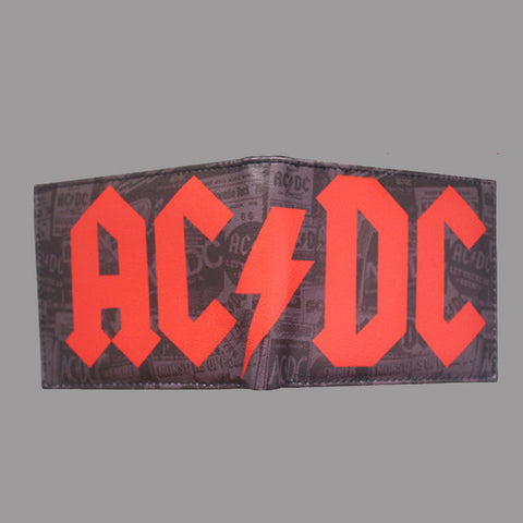 Image of AC/DCrock punk wallet men short brand purses pu leather card holder hip hop top quality acdc wallets man drop shipping