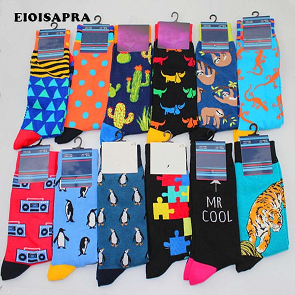 [EIOISAPRA]Fashion Lovely Cartoon Penguin Radio Box Panda Men Socks Harajuku Hip Hop Breathable Happy Socks Calcetines Hombre
