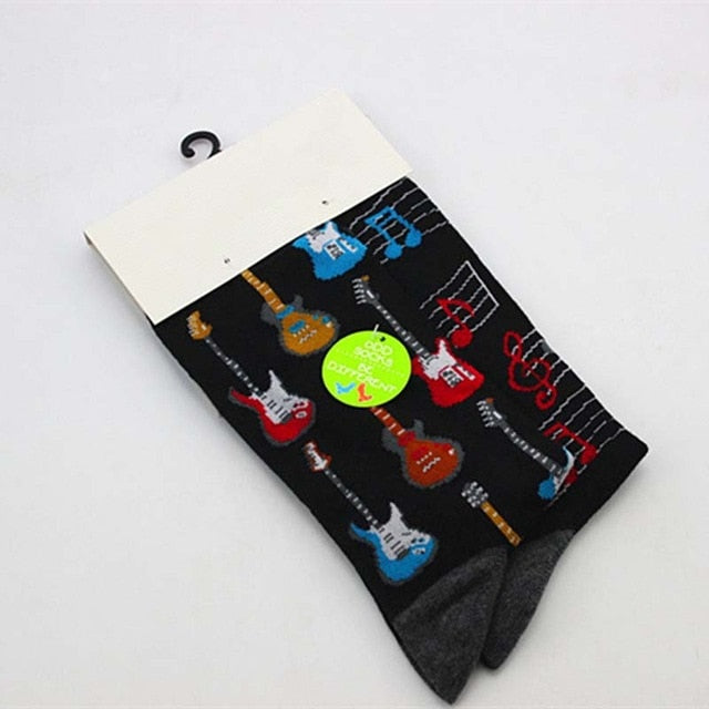 eioisapra Men's Socks fashion Hip Hop Yin Yang A/b Men Socks Cartoon Fruit Personality Skateboard Breathable Happy Socks Calcetines Hombre