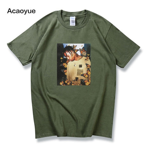 Travis Scott Butterfly T shirt Effect Rap Music Album Cover men and women Astroworld Face material top T-shirt s-2xl
