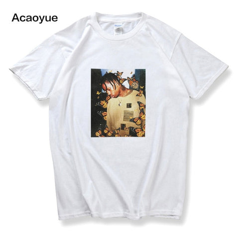 Image of Travis Scott Butterfly T shirt Effect Rap Music Album Cover men and women Astroworld Face material top T-shirt s-2xl