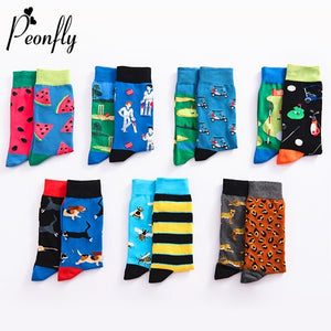 9eb38631664 PEONFLY Men Happy Funny Cartoon Animal Fruit Sock Fashion Print Bee Leopard  Dog Watermelon Cotton Breathable hip hop Dress Socks