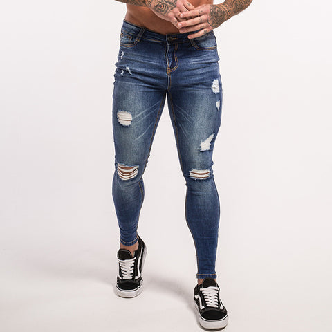 Gingtto Ripped Jeans For Men Distress Jeans Dark Blue Lightweight Cotton Stretch Jeans Dropshipping Supply Sale Summer zm11
