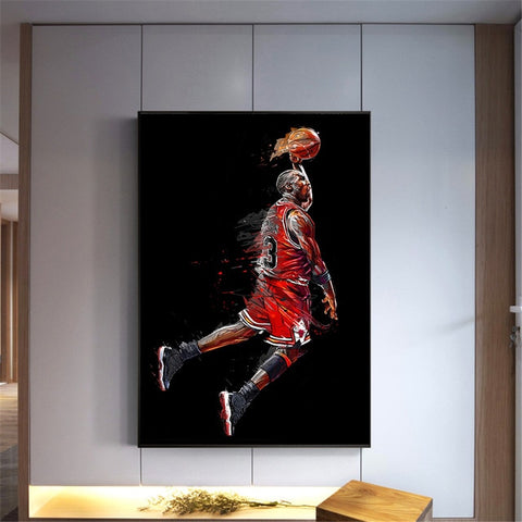 Michael Jordan Poster Fly Dunk Basketball Wall Pictures for Living Room Decoration Bedroom Sport Canvas